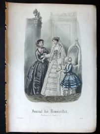 Journal des Demoiselles C1850 Antique Hand Col Fashion Print 81